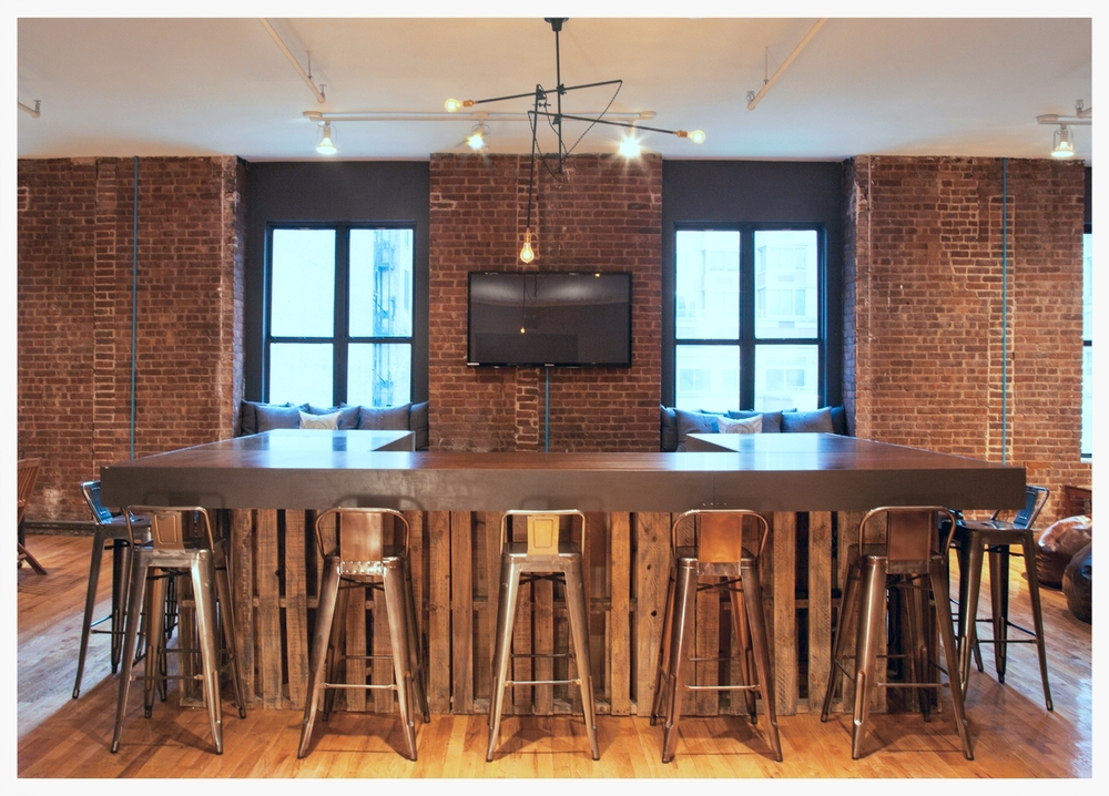 Office bar with row of stools
