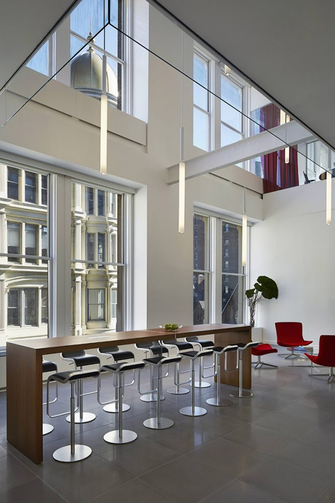 an office space with large open spaces